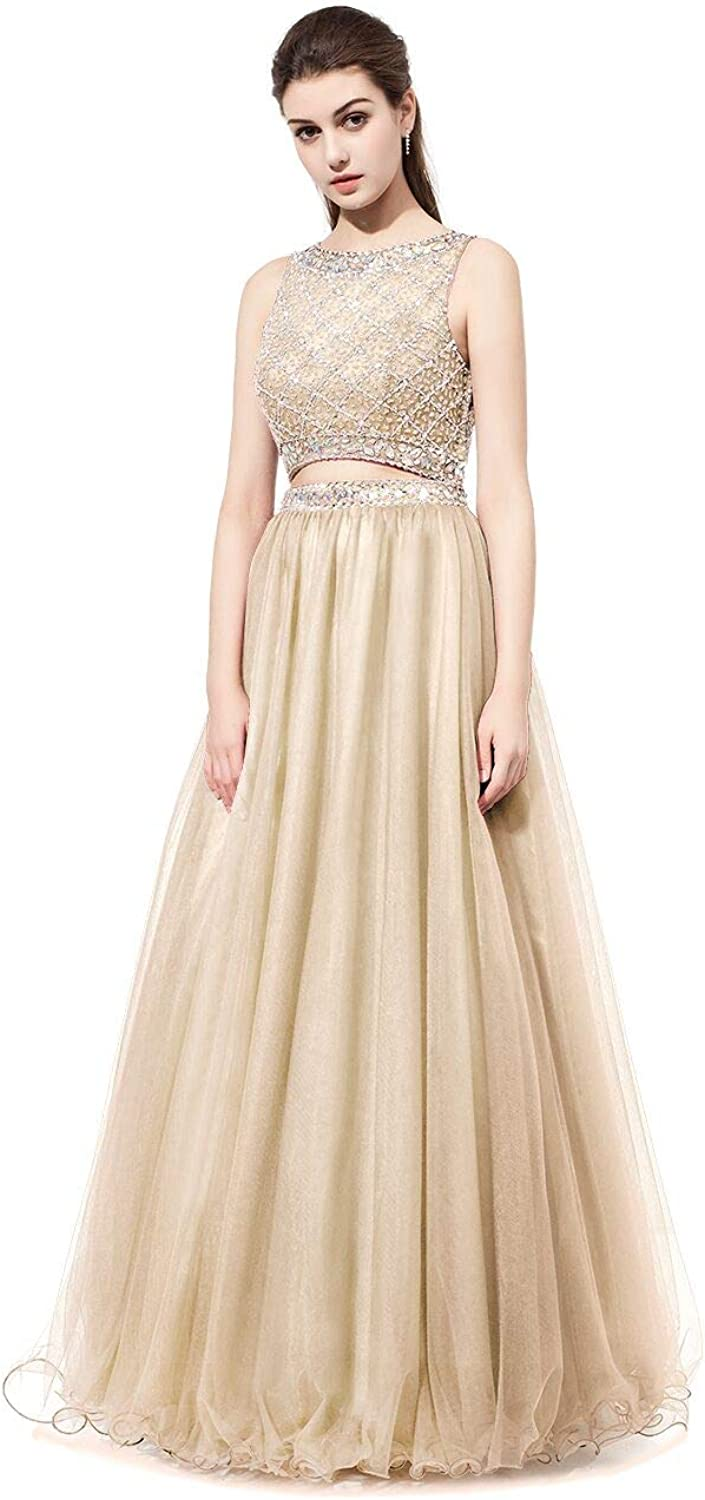 BridalAffair 2018 New Two Piece Prom Dresses Beaded Multicolord ALine Real Picture Formal Evening Party Gown