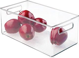 mDesign Przezroczyste pudełko do przechowywania – idealne do półki, w szafce kuchennej lub jako pudełko na lodówkę