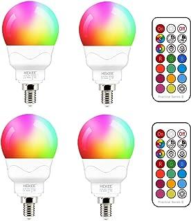 لامپ LED E12 (معادل 40 وات) 5 وات ، تغییر رنگ RGB ، لامپ گرد گرد لامپ کوچک ، پایه شمع A15 ، 5700K سفید 12 رنگ زمان بندی 2 حالت با کنترل از راه دور (4 بسته)
