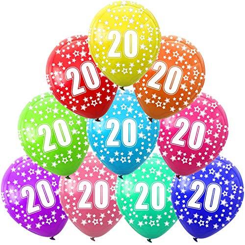 Funny House 30 Pièces Ballon 20 Ans Anniversaire , 20eme Fête d'Anniversaire Decoration 12 Pouces Ballons en Latex Couleur Multiple
