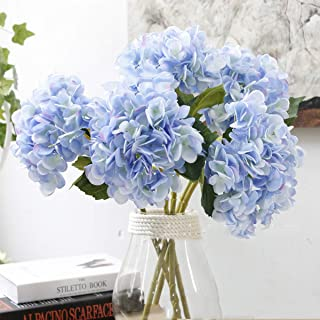 Aonewoe Artificial Flowers 5 Pcs Silk Hydrangea Flower for Wedding Party Home Decoration(Light Blue)
