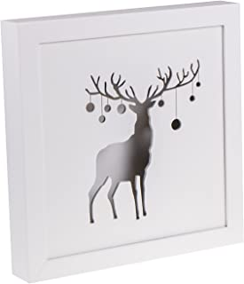 White Framed Reindeer with Antlers and Ornaments | Cutout Wooden LED Lit Christmas Hanging Decoration - 8.5