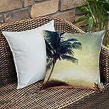 Funda De Cojine Funda de Almohada,Puesta de sol de playa natural hawaiana con siluetas de palmeras Arbustos Nubes de mar y p,Fundas de Cojín con Cremallera - Fundas de Almohada para Sofá y Cama45x45cm