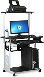 go2buy Black Rolling Computer Desk Cart with Keyboard Tray and Printer Shelf on Wheels