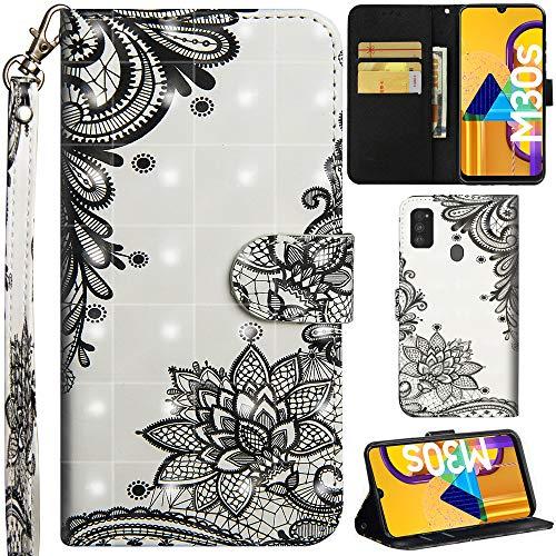 DodoBuy Samsung Galaxy M30s Funda 3D Flip Folio Wallet Cover PU Leather with Card Slots Kickstand Feature Magnetic Closure Wrist Strap para Samsung Galaxy M30s - Black Lotus