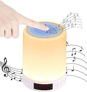 Youool Luces Nocturna Altavoz Bluetooth, Luz Mesita de Noche, Portátil Lámpara de Mesa LED Táctil 5 en 1 con Radio FM Reloj deSpertador Lámpara de Noche Regulable (1#)