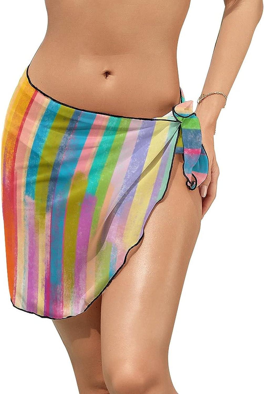 JINJUELS Women's Bikini Swimsuit Cover Up Colorful Watercolor Wood Summer Beach Wrap Skirt Pareo Sarong