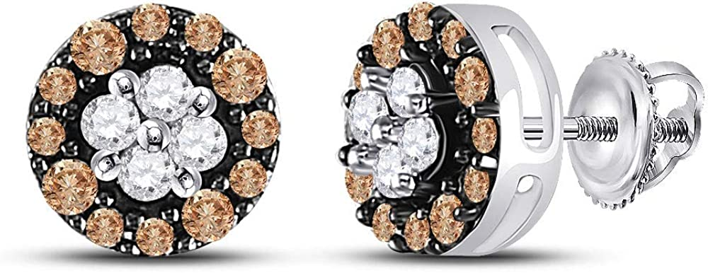 10kt White Gold Womens Round Diamond Industry No. 1 Brown Max 57% OFF Earrings Cluster Stud