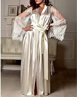 Valentine's Best Gift!!!Natarura Women Satin Long Nightdress Silk Lace Lingerie Nightgown Sleepwear Sexy Robe