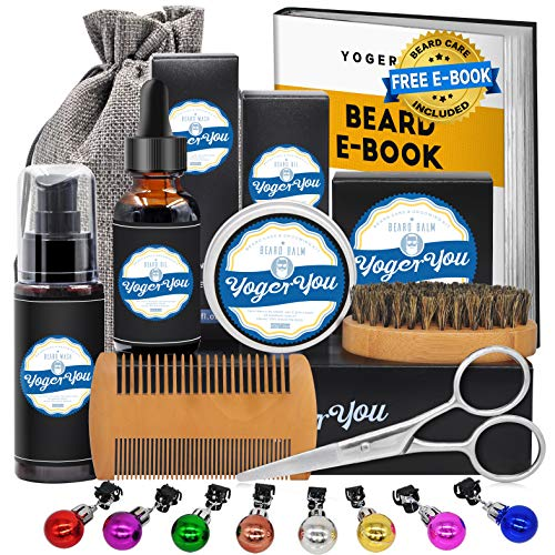 Upgraded Beard Grooming Care Kit w/Beard Shampoo Wash,Beard Growth Oil Conditioner,Beard Balm,Beard Shaper,Beard Brush,Beard Comb,Beard Scissors Gag Stocking Stuffers Christmas Gifts Set for Men Dad