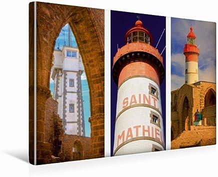 Calvendo Sehnsucht Bretagne - al Phare de Saint-Mathieu nel Dipartimento Finistére Si Trovano Tre faretti in Un Unico Posto, 45x30 cm