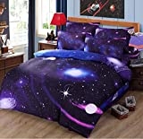 Mengersi 3D Star Galaxy Printing Bedding Set Duvet Cover for Boys Kids Toddler (Twin, A6)