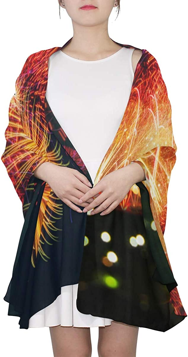 Festive Colorful Fireworks Unique Fashion Scarf For Women Lightweight Fashion Fall Winter Print Scarves Shawl Wraps Gifts For Early Spring