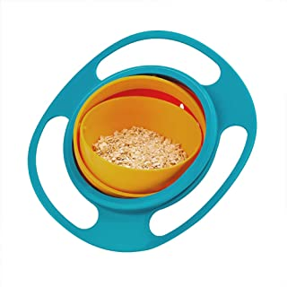 Gyro Bowl, McoMce 360 Degree Rotate No Spill Bowls for Toddlers, Spill Proof Baby Bowls with Lid for Toddlers Baby Kids, Creative Snacks Bowl Practice Feeding Bowl, Universal Rotating Bowl, Blue