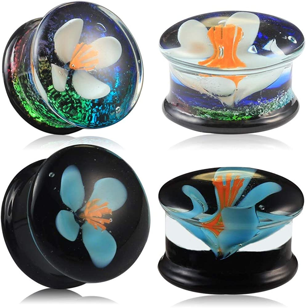 Casvort 4 PCS Glass 70% OFF Outlet Flower Double Flared Tunnels Super special price Ear G Plugs