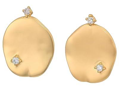 SOLE / SOCIETY Stud Earrings (12K Soft Polish Gold/Crystal 1) Earring