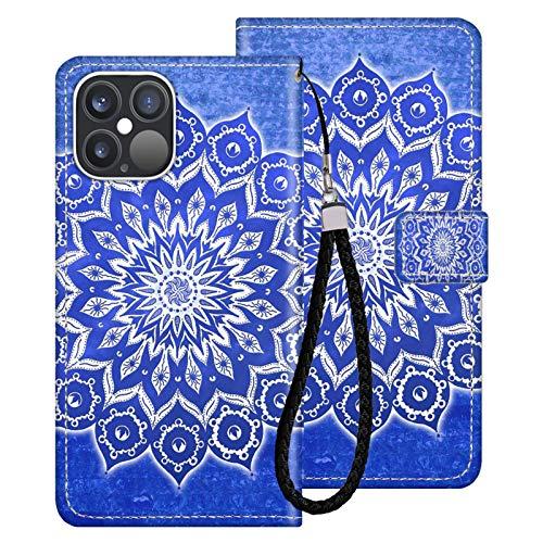 Naikuyi Funda tipo cartera con diseño de mandala azul con ranuras para tarjetas, correa de muñeca para iPhone 12 Pro iPhone 12 modelo para niñas y mujeres