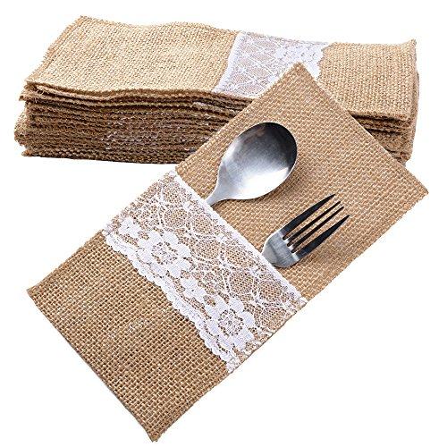 20 Stück Jute Bestecktaschen Besteckbeutel Besteckhalter Sackleinen mit Spitze Messer und Gabeln Besteck Set Hochzeit Vintage Deko Tischdeko für Party Hochzeit Zuhause