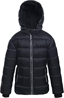 Boys' Water-Resistant Hooded Heavy Padded Coat Thickened Quilted Lined Parka Anorak Puffer Jacket