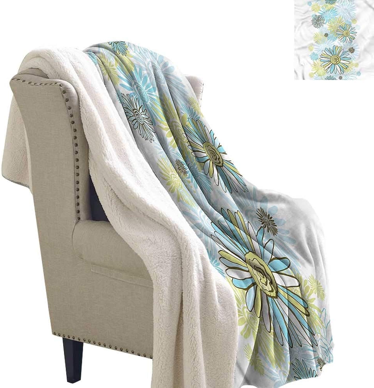 Beihai1Sun Turquoise Blanket Small Quilt Chamomiles Wild Flower 60x32 Inch