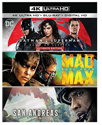 Batman v Superman: Dawn of Justice Ultimate Edition, Mad Max: Fury Road, San Andreas (Amazon Exclusive) (4K Ultra HD)