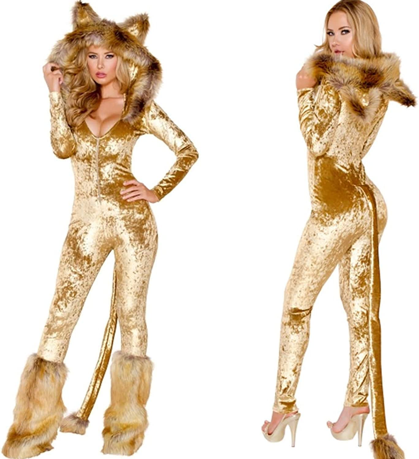 CWZJ Halloween Cosplay Costume Adult Cosplay Sexy Uniform Cat Girl Sexy Leopard Temptation Role Playing Suit Costume Suitable For Carnivals Theme Parties Halloween