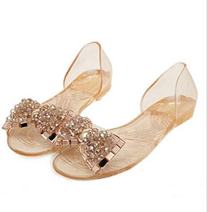 Yuehen Casual Bowtie Shoes Fashion Jelly Shoes Transparent PVC Flat Shoes Woman Sandalias Mujer