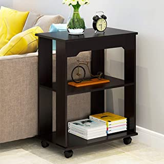 End Table, Modern Side Table Chair Cabinet Bedroom Furniture Nightstand with Storage Shelf Bookshelf 2 Tier for Living Room Bedroom Office with 4 Wheels and Open Shelf