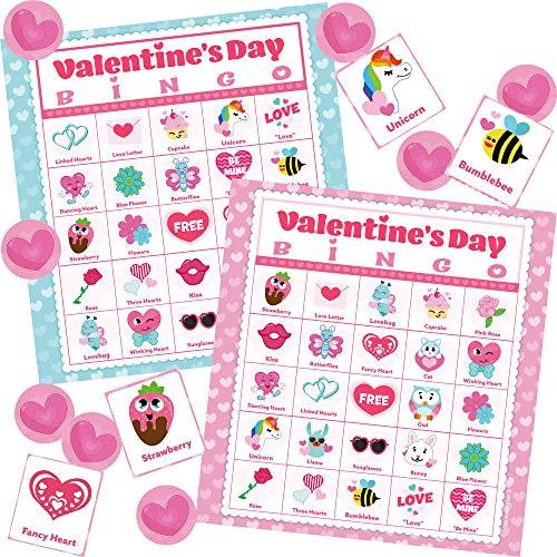 JOYIN 56 Players Valentines Day Bingo Cards (5x5) for Kids School Classroom Exchange Gift Rewards, Valentine's Fun Party Favor Games, Indoor Family Activities.
