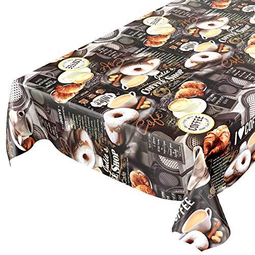ANRO Tischdecke Wachstischdecke Wachstuch Wachstuchtischdecke Kaffee Coffee Donut 100 x 140cm