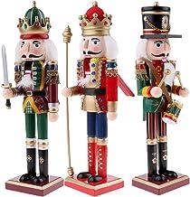 Baoblaze 3pcs Christmas Decor Wooden Nutcracker Figurine Puppet Doll Toys 30cm/11.8''