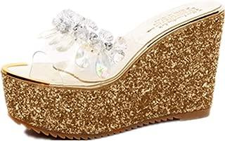 Summer Wedge Slippers Women Beach Indoor&Outdoor Shoes (Color : Golden, Size : 39)