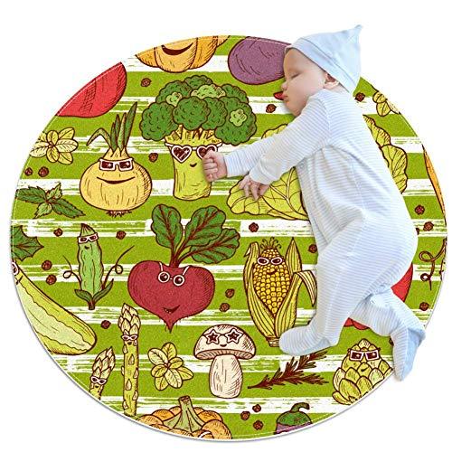 Grappige Groenten Met Zonnebril Grote baby tapijt, kleuterschool kinderen ronde warme zachte mat vloertapijt, antislip kinderen Peuter slaapkamer