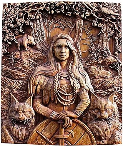 Norse Odin Ravens Viking mitología Íconos Esculturas de pared, Thor Loki Hugin und Munin Decoración para el hogar Talla de madera Decoración para colgar en la pared Talla de dioses paganos Regalo