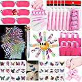 TABGIME 114PCS Girls Spa Party Supplies Favors for Spa Experience, Multiple Spa Kit w/Spa Mask Bag Colored Hair Extension File Toe Separator & More Mani Pedi Set for Birthday Gift