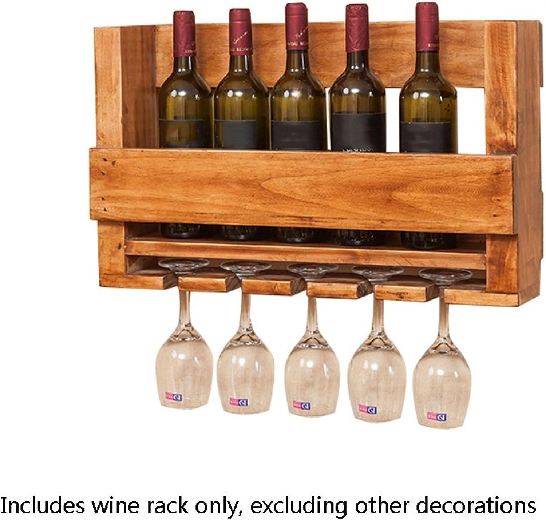 Nationwel@ Wooden Wine Rack Suspension Wall Hanging Ornaments Creative Wine Glass Rack Cup Holder Multifunctional Shelf -60  14  36cm