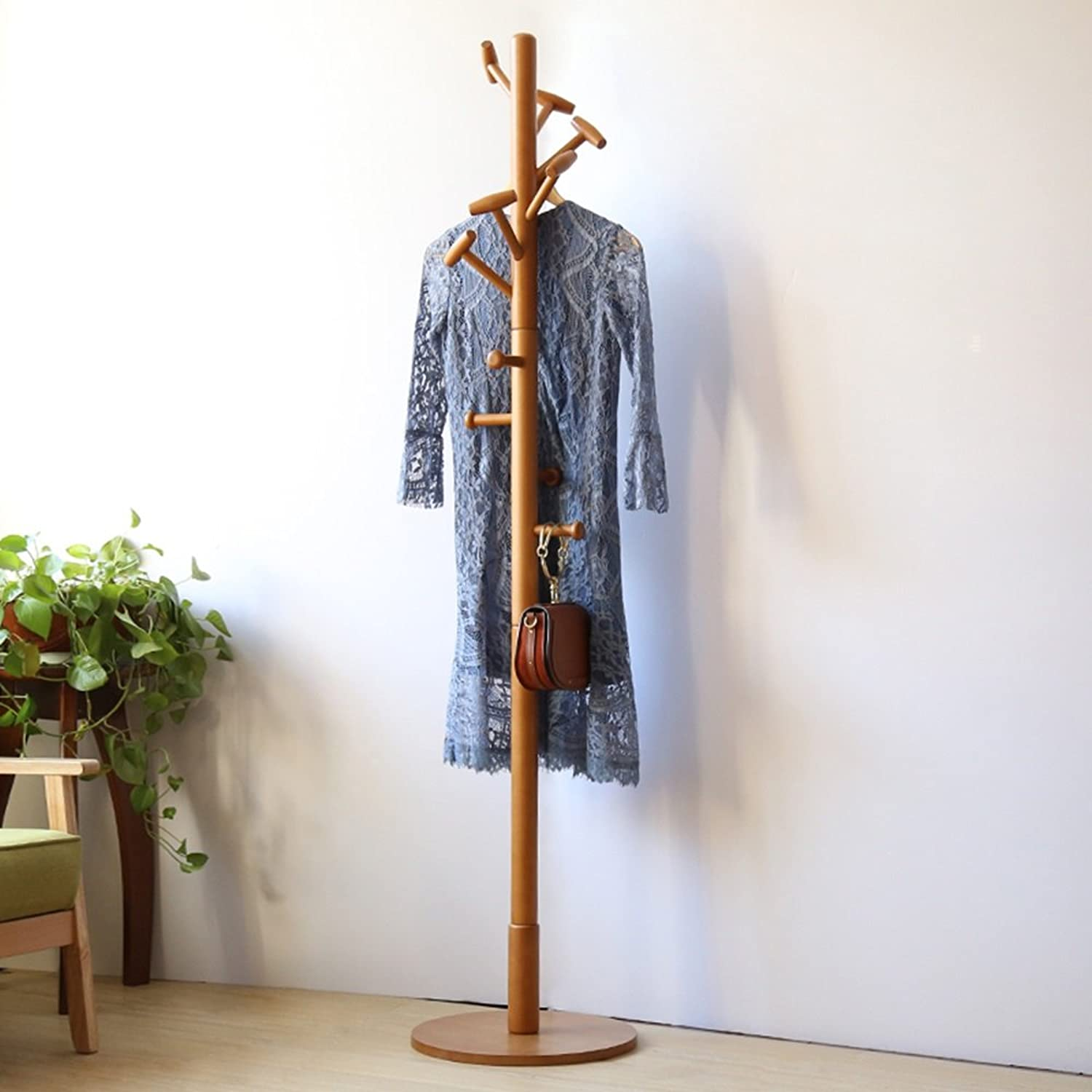 ZZHF yimaojia Coat and Hat Rack Stand Solid Wood Simple Household Single Rod Type Coat Rack (color   Wood)