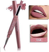 labios gruesos lápiz labial mate de maquillaje permanente Sannysis lápiz labial brillo barras de labios mate larga duracion cosméticos labial impermeable y Delineador de labios (F)