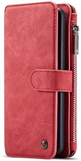 HUAWEI MATE 20 PRO Wallet Case with Detachable Slim TPU PC Case,Handmade,TRIFOLD Leather, RED