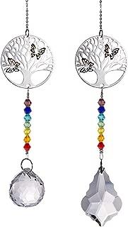 Crystal Suncatcher Chakra Colors Beads Life Tree Window Hanging Ornament Rainbow Suncatcher,Pack of 2 for Christmas Day,Wedding,Plants,Cars,Window Decor