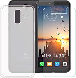 YZKJ Case for HISENSE (F24) Infinity H11 Lite Cover + Screen Protector Tempered Glass Protective Film - Flexible Soft Gel Crystal Translucent TPU Silicone Protection Case for (5.99