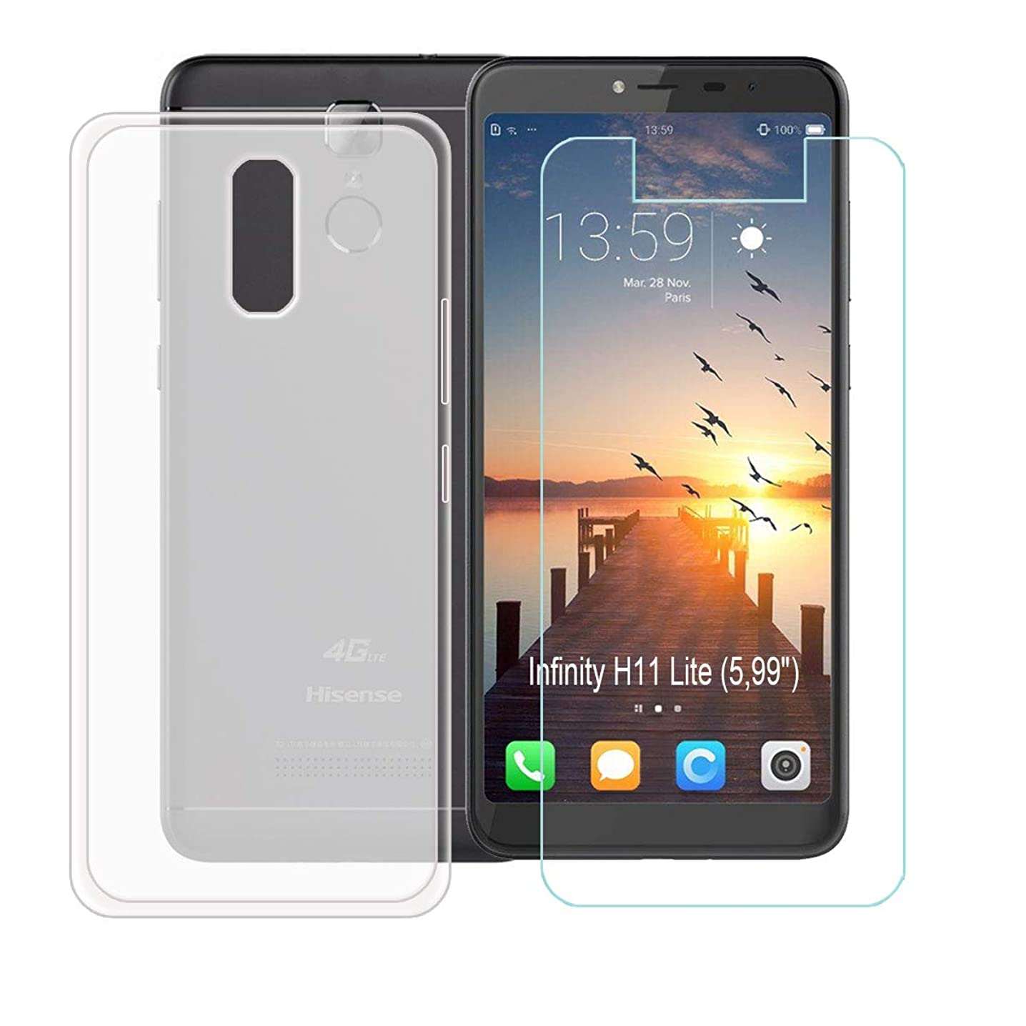 SZJCKJ Translucent Case + HD Screen Protector for Hisense Infinity H11 Lite (5,99