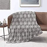 jecycleus Modern Bedding Microfiber Blanket Snowflake Figures Geometrical Lines Triangles and Shapes Artwork Print Super Soft and Comfortable Luxury Bed Blanket W70 by L84 Inch White and Army Green