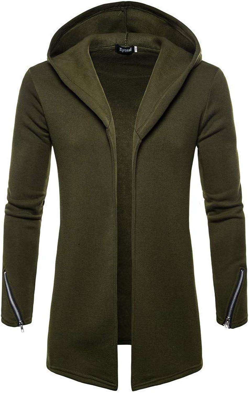 Young Men's Open Front Longline Fleece Sweatshirt Cardigan Cozy Sport Outwear