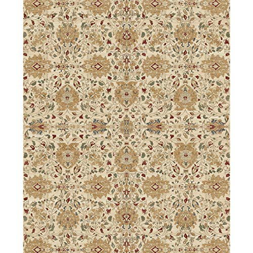 """RUGGABLE Washable Indoor/Outdoor Stain Resistant 8'x10' (94""""x120"""") Area Rug 2pc Set (Cover and Pad) Traditional Floral Cream"""