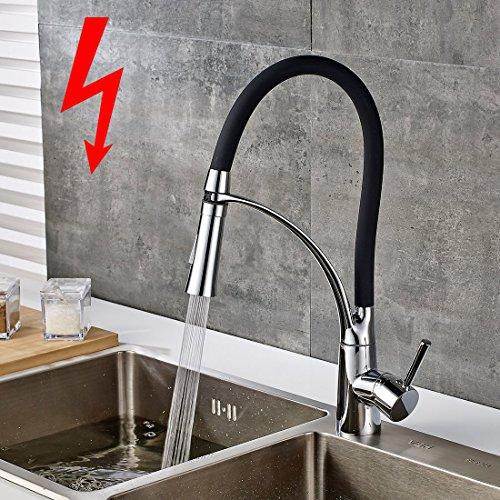 GIMILI Niederdruckarmatur Küche Mischbatterie Niederdruck Wasserhahn Küchenarmatur mit Brause Einhandhebelmischer für Küche Schwarz