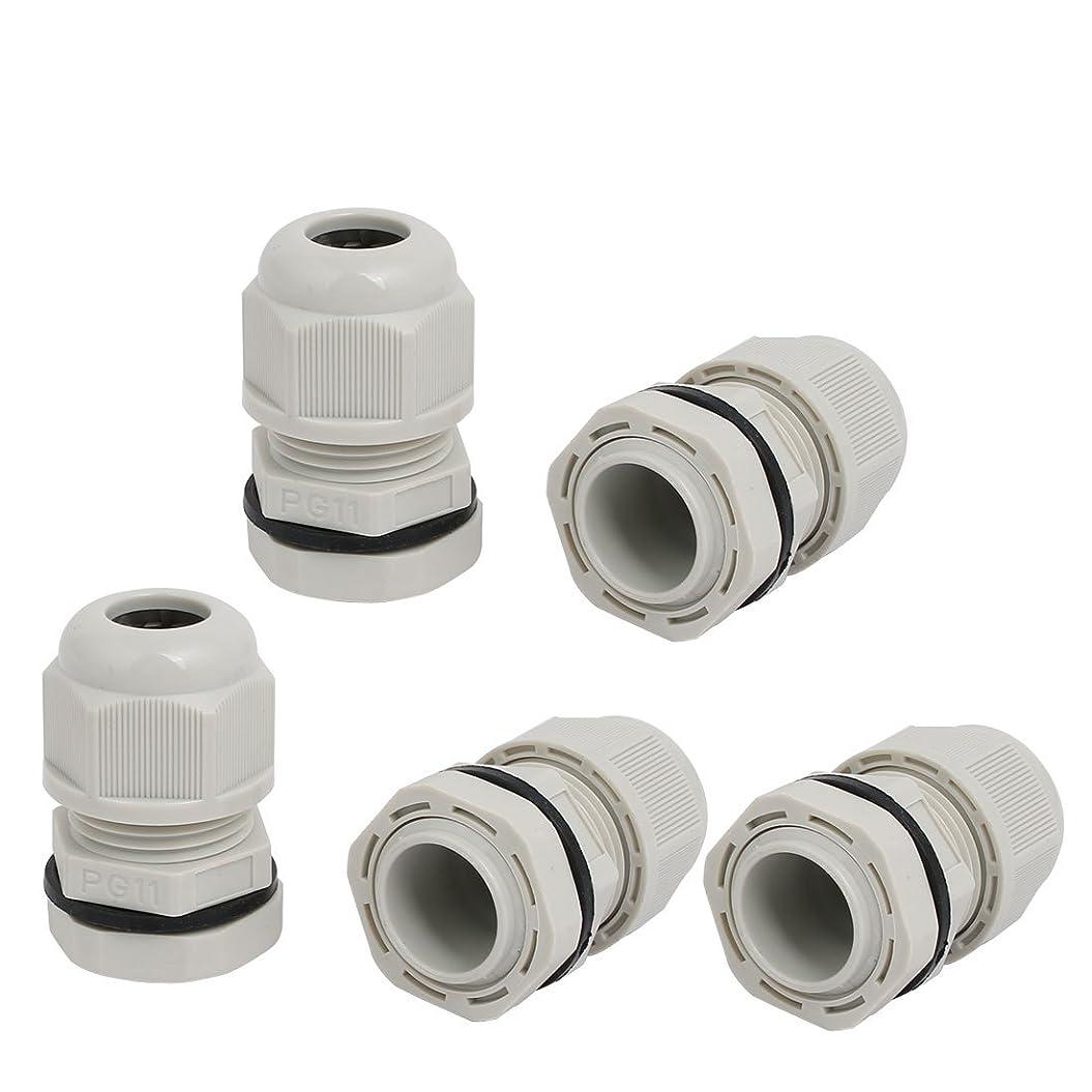 効率的に通信する扱うuxcell ケーブルグランド PG11 2mm-4mm 穴数量2 グレー 耐水コネクタ ワイヤコネクタ 5個入り