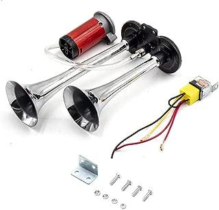 Flow.month 12V Air Horn Dual Trumpet Chrome Zinc 150DB Super Loud Dual Trumpet Car Modified Air Pump Electric Air Horn