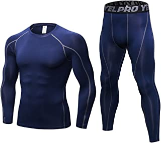 LANBAOSI Men Long Sleeve Compression Shirts and Pants 2 Pcs Sport Base Layer Set