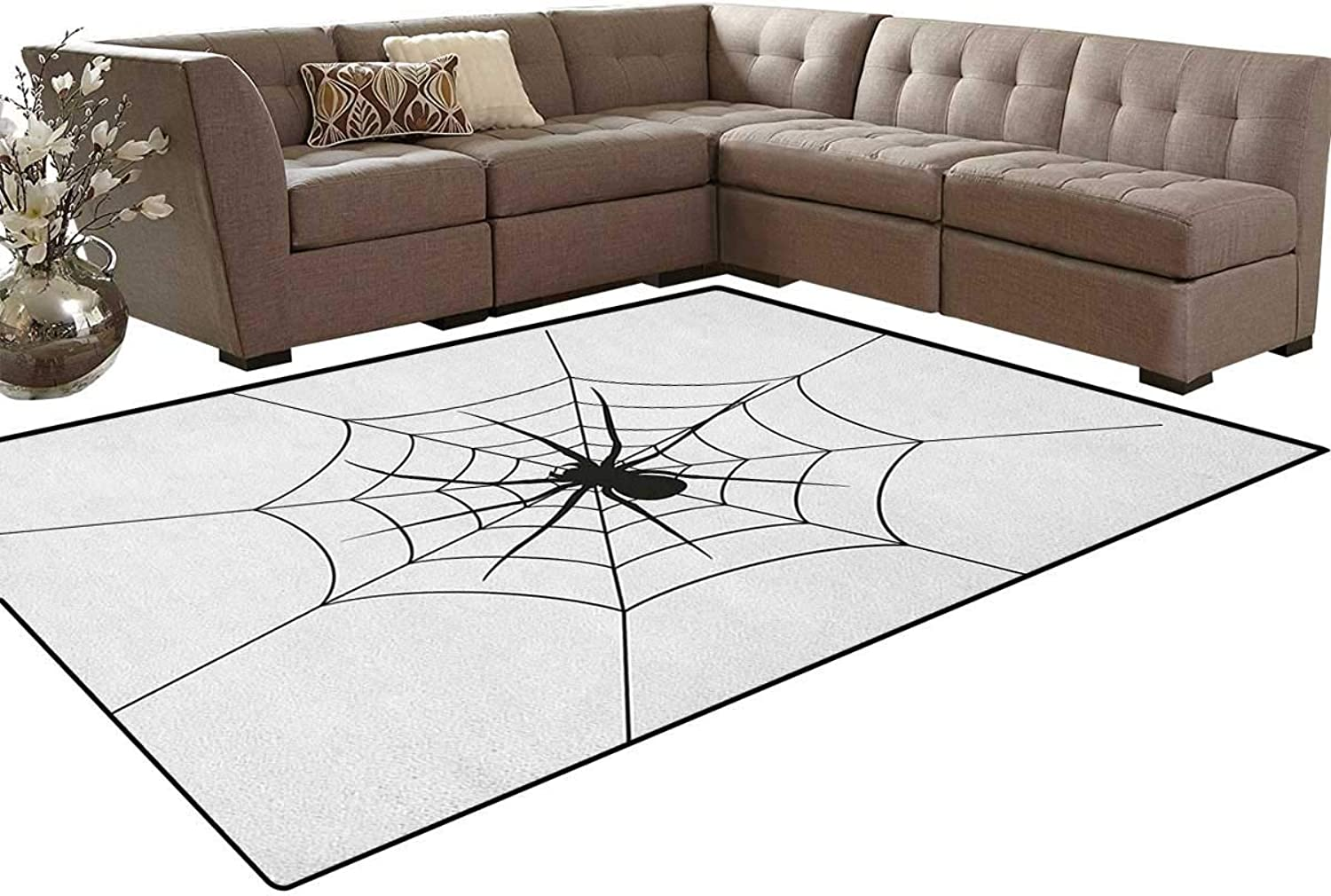 Black Spooky Spider Weighs on a Web Creepy Crawly Organism Tangled Monochrome Floor Mat Rug Indoor Front Door Kitchen and Living Room Bedroom Mats Rubber Non Slip